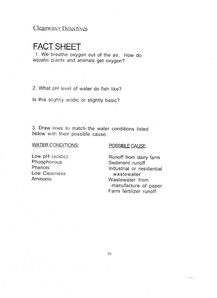 Cleanwater Detectives Fact Sheet