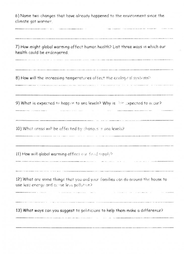Global Warming Worksheet Page 2