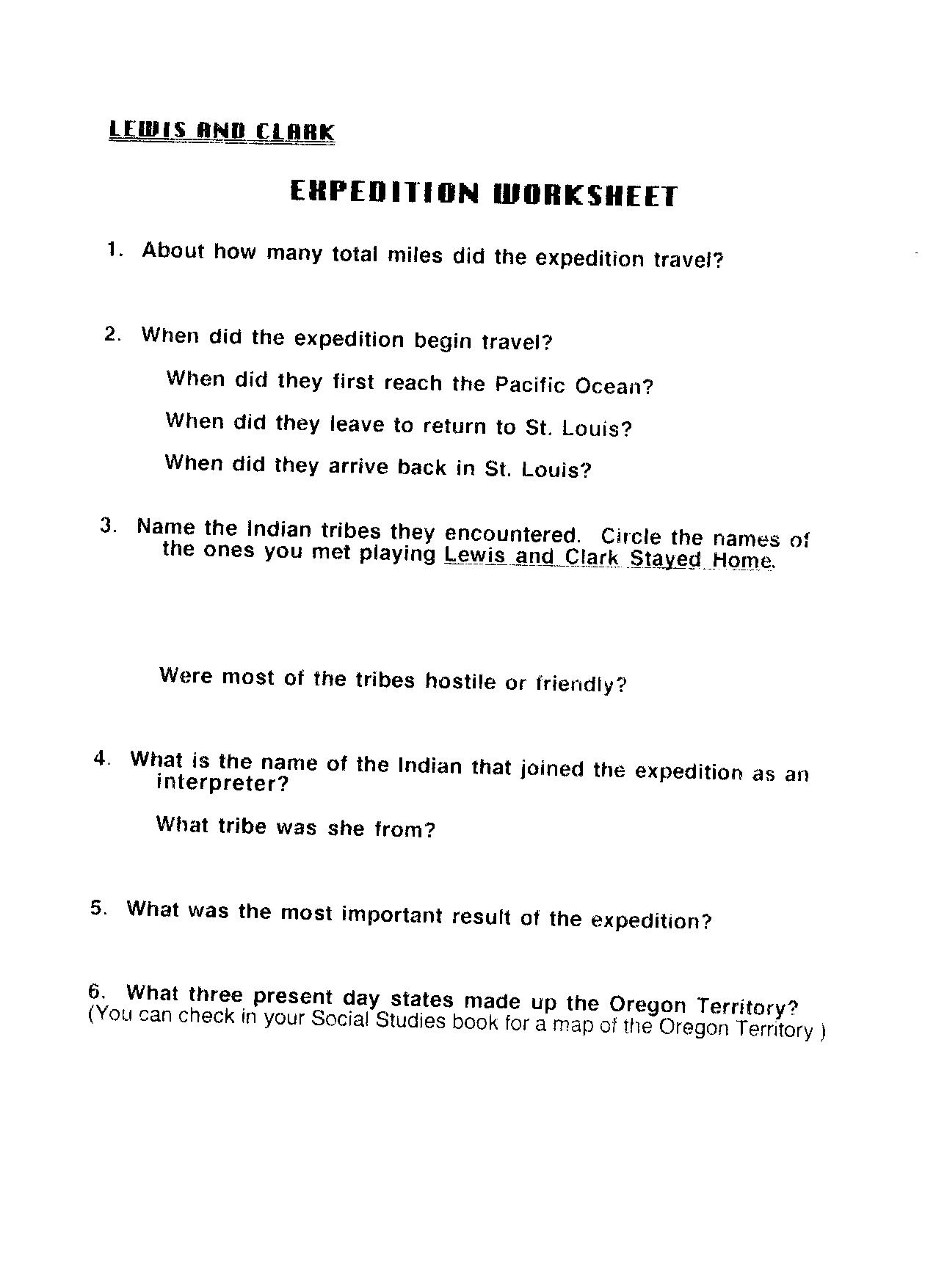 5dlewisandclarkexpeditionworksheet UC Links Activity Guides – Lewis and Clark Worksheets